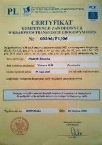 certyfikat naprzewóz osób